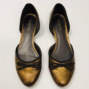 Liz Claiborne gold metallic bow tie flats 9 1/2